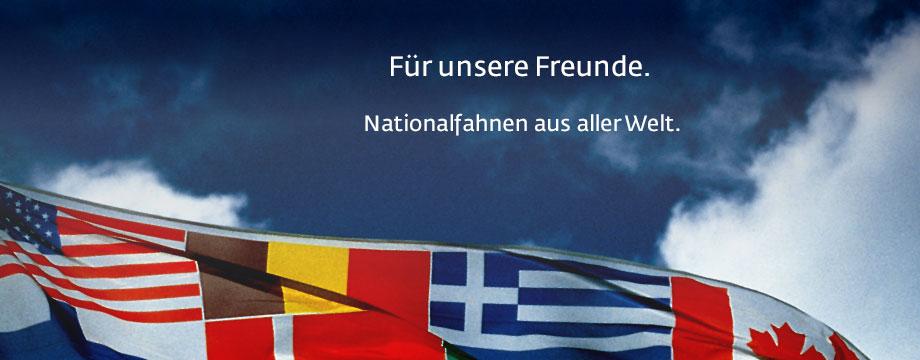 Nationalfahnen fast aller Länder in unterschiedlichen Ausführungen