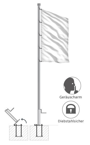 preiswert stabil sicher 76 mm Durchmesser Fahnenmast aus Alu 7 m lang
